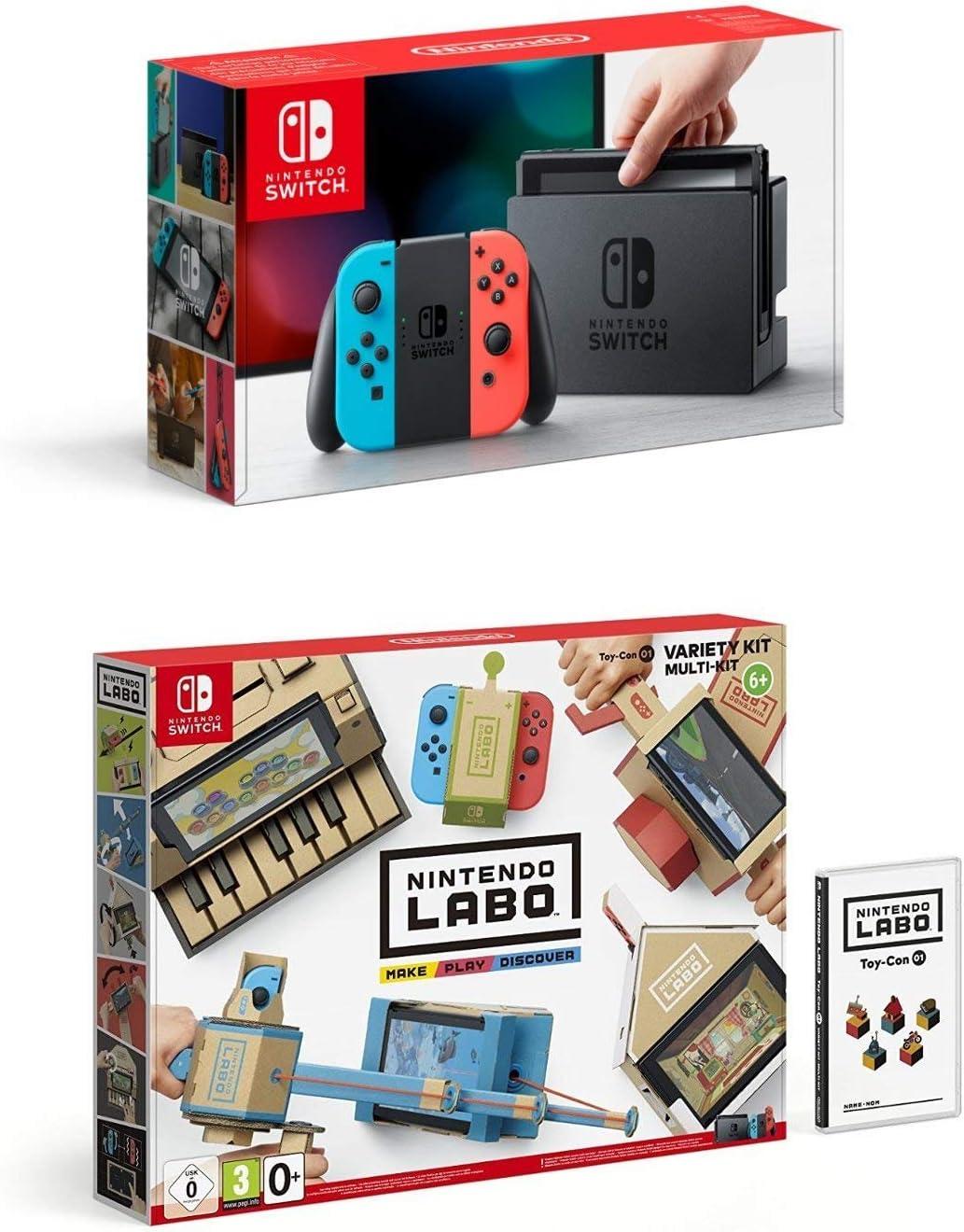 Nintendo Switch - Consola color Azul Neón/Rojo Neón + Nintendo Labo: Toy-Con Kit variado: Amazon.es: Videojuegos