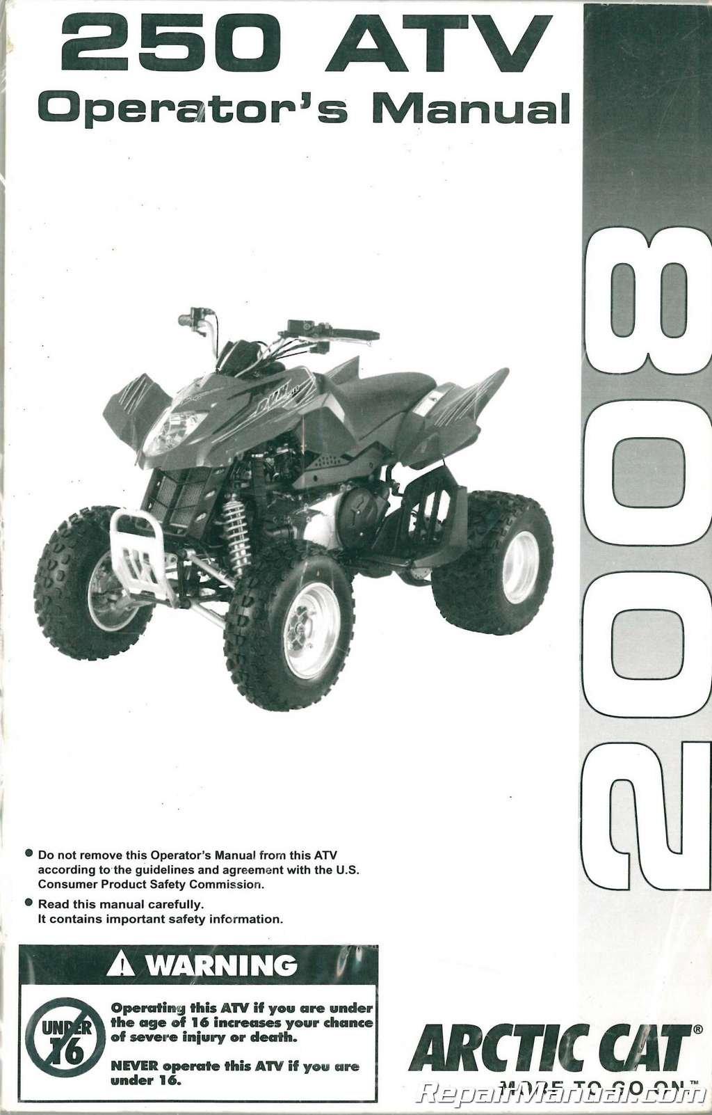 2258-014 2008 Arctic Cat 250 DVX 2×4 ATV Owners Manual Paperback – 2004