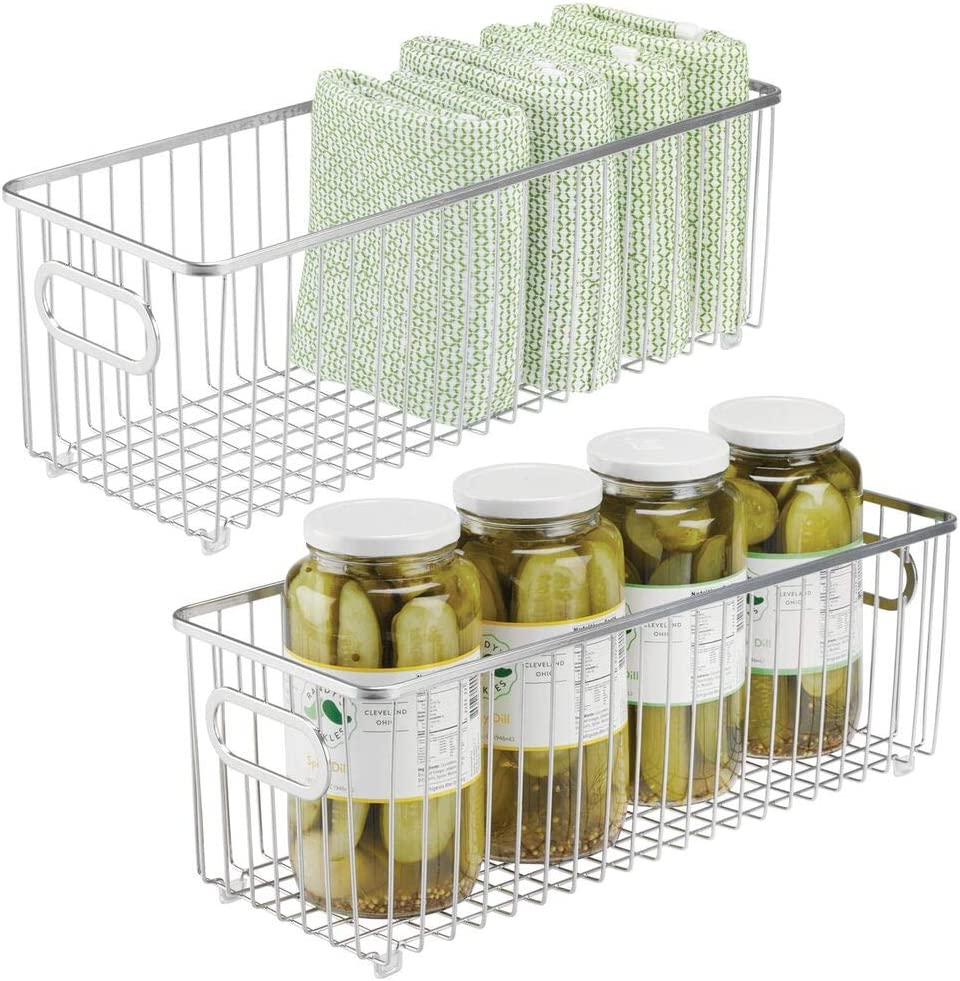 """mDesign Metal Farmhouse Kitchen Pantry Food Storage Organizer Basket Bin - Wire Grid Design - for Cabinets, Cupboards, Shelves, Countertops, Closets, Bedroom, Bathroom - 16"""" Long, 2 Pack - Chrome"""