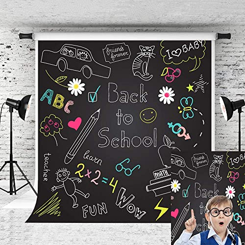 Kate 8x8ft Back to School Backdrop Blackboard Pattern Photo Backgrounds Students Party Backdrop Children Photography