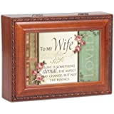 To My Wife Woodgrain Cottage Garden Traditional Music Box Plays Unchained Melody
