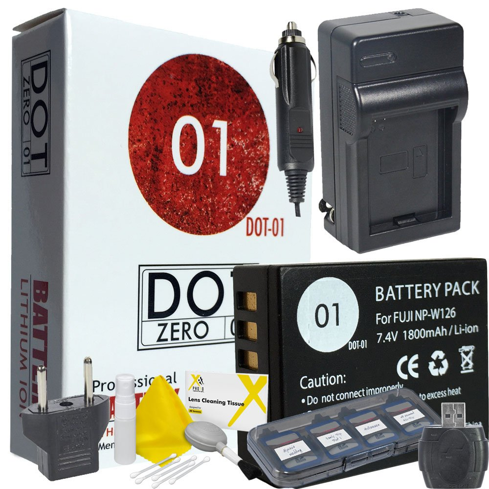 DOT-01 Brand Fujifilm X-A5 Battery and Dual Slot USB Charger for Fujifilm X-A5 Mirrorless and Fujifilm X-A5 Battery and Charger Bundle for Fujifilm NPW126 NP-W126