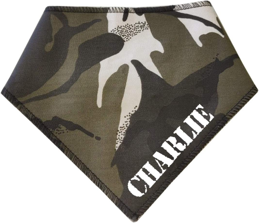 Spoilt Rotten Pets S3 PERSONALISED Grey /& Black Camo Camouflage Uniform Fabric Any Name or Wording Dog Bandana Medium Dogs Labrador /& Staffies