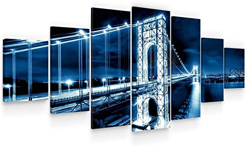 Startonight Huge Canvas Wall Art Blue Bridge