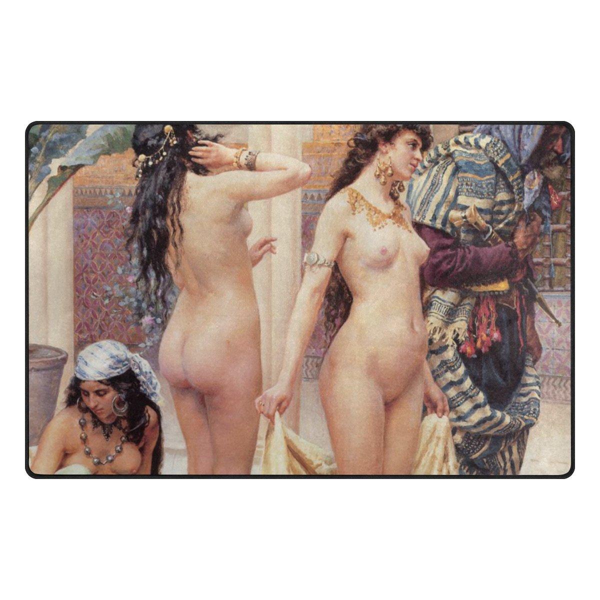 LEEZONE before Bathing Woman Printing Rectangle Decorative Floor Mat Carpet