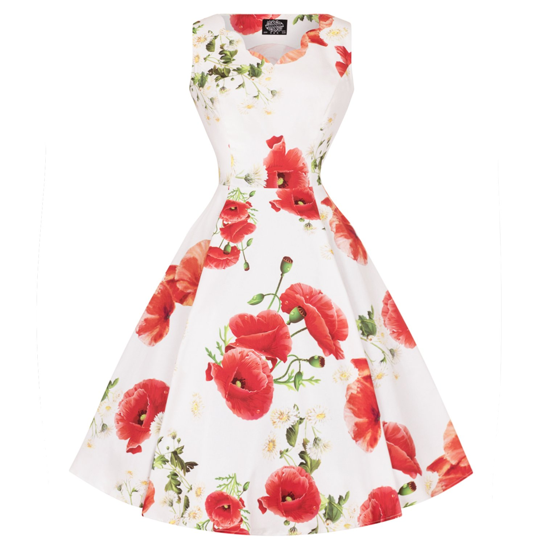 Hearts & Roses London Weiß Rot Mohn Aufdruck Vintage Retro 1950s Jahre Ausgestellt Sommerkleid