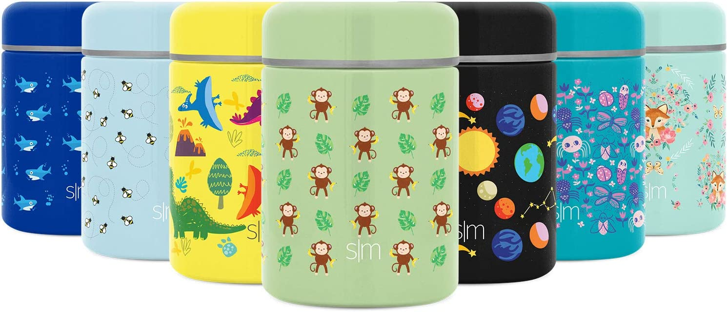 Simple Modern Kids Provision Food Jar for Kids - 12oz Insulated Stainless Steel Lid - Vacuum Insulated Flask Leak Proof Thermos Food Storage Container Flask Kids: Hungry Monkey