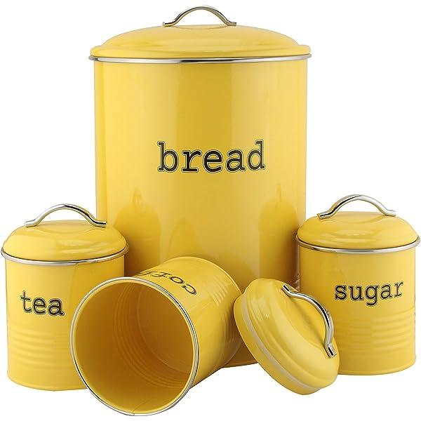 Cream Coffee /& Sugar With Bread Bin Storage Canister Jars Set of 4 Round Tea