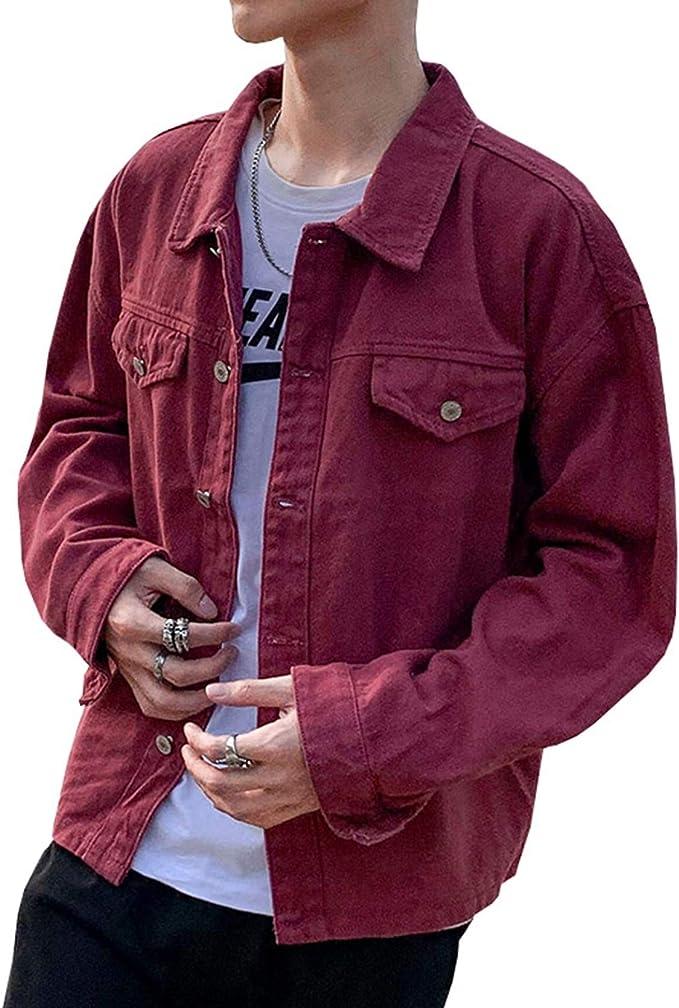 全3色 デニムジャケット Gジャン メンズ 日系 シンプル 無地 カッコイイ ゆったり ストレッチ 快適 合わせやすい お出かけ 通勤 通学 春秋 防風 防寒 大きいサイズ M-2XL ジージャン