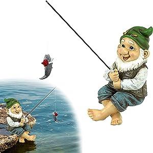 MUSJOS Garden Gnome Statue, Fishing Garden Resin Statue, Funny Resin Figurines Garden Gnome for Party Home Patio Lawn Garden Decor (Fish)