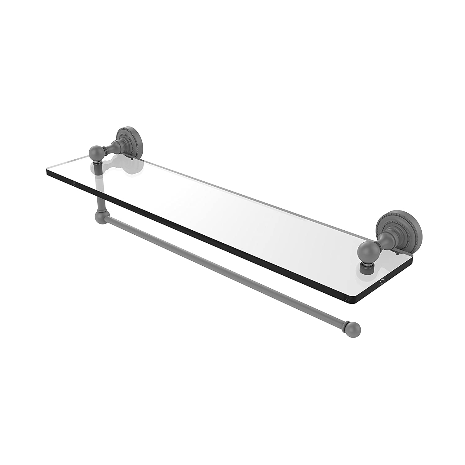Allied Brass DT-1PT//22-GYM Dottingham Collection Paper Towel Holder with 22 Inch Glass Shelf Matte Gray