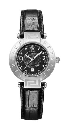 Versace - 68Q99SD009S009 - Montre Femme - Quartz - Analogique - Bracelet  cuir noir cd7ae4109eb