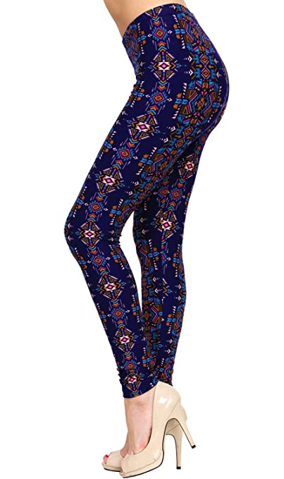 3a43609b9e7ee VIV Collection Plus Size Printed Brushed Leggings (Ritual Richness) at  Amazon Women's Clothing store: