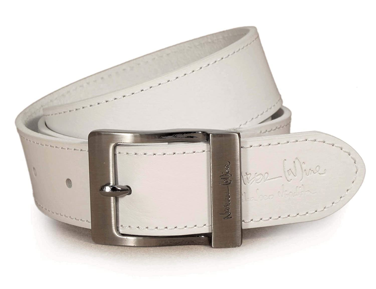 Womens Real Genuine Leather White Belt 1.5 Wide S-XL Thick Long Casual Jeans UW3