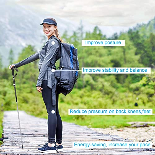 FIRINER Trekking Poles Collapsible Lightweight Hiking Poles 7075 Auminum Alloy Hiking Sticks Shock Absorbing Quick Flip Lock Adjustable Walking Sticks for Hiking Camping 2 Pack