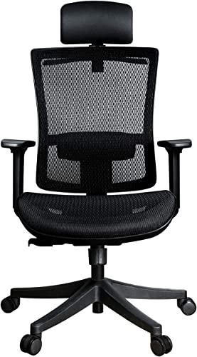 Ergonomic Adjustable Office Chair Computer Chair – High Back with Breathable Mesh – Adjustable Head Arm Rests, Seat Height