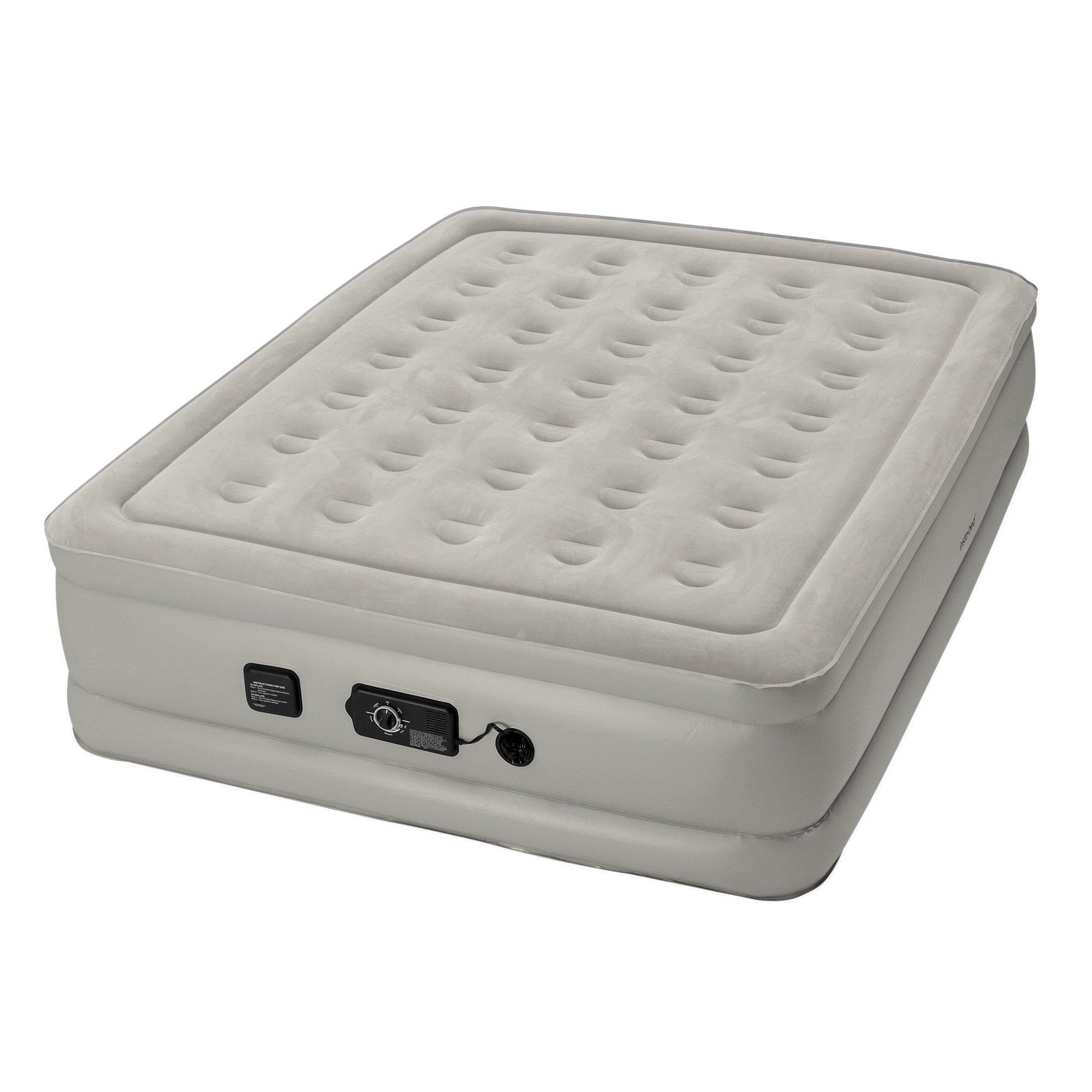 Insta-Bed Raised Air Mattress with Neverflat Pump, Grey, Full