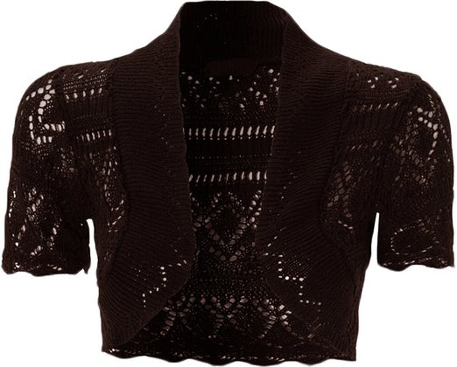 Fashion & Freedom F&F Kids Girls Short Sleeve Knitted Crochet Bolero Shrug Cardigan