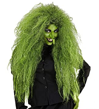 shoperama Verdes Mujer de Pelo Largo Peluca Verde para Bruja y Marfil Bosque Espíritu