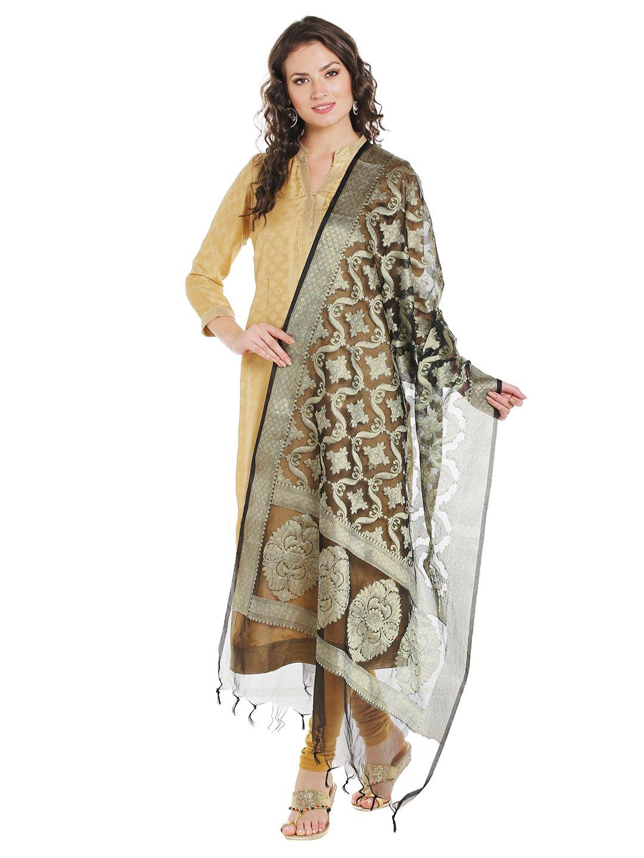 Dupatta Bazaar Women's Benarasi Organza Silk Woven Black & Gold dupatta
