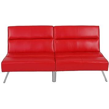 Mendler 3er Sofa Couch Schlafsofa Darwin Iii Rot Kunstleder