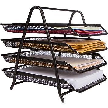 4 bandeja organizador de escritorio de oficina, color negro