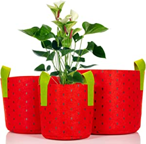 Fabric Grow Bags, 3 Pack, 3-Gallon, 5-Gallon, and 7-Gallon Outdoor Planters with Advanced Aeration, Yields Stronger, Healthier Plants, Vegetables and Vegetation (Red Black Dots)