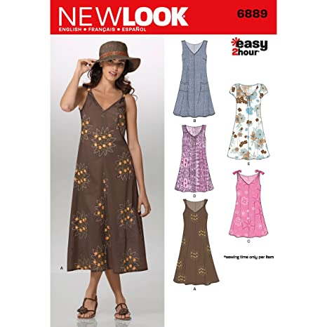 83a25d80ec2 Image Unavailable. Image not available for. Colour  New Look Sewing Pattern  6889  Misses Dresses ...