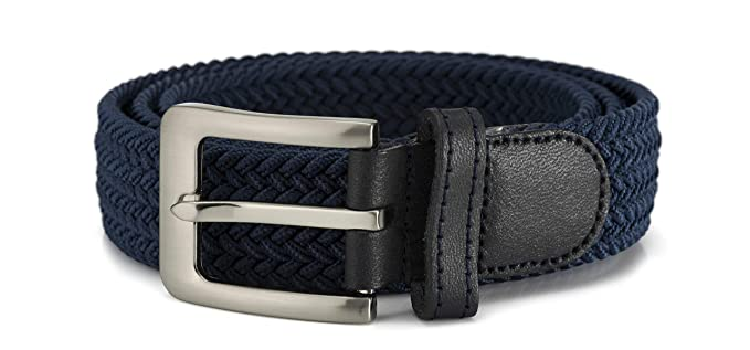 Streeze Cinturón 32mm Elásticoastizado y Trenzado. 6 Tamaños de Pequeño a 3XL. Hebilla Plateada