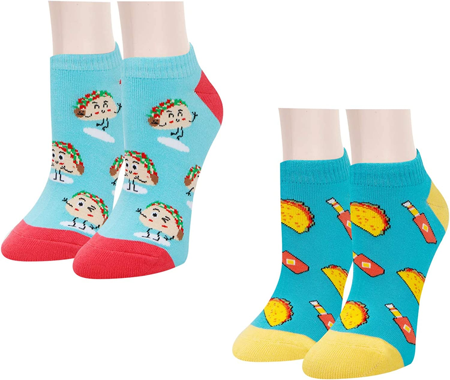 Zmart Women Novelty Funny Food Fruit No Show Low Cut Cozy Ankle Socks 2 Pack