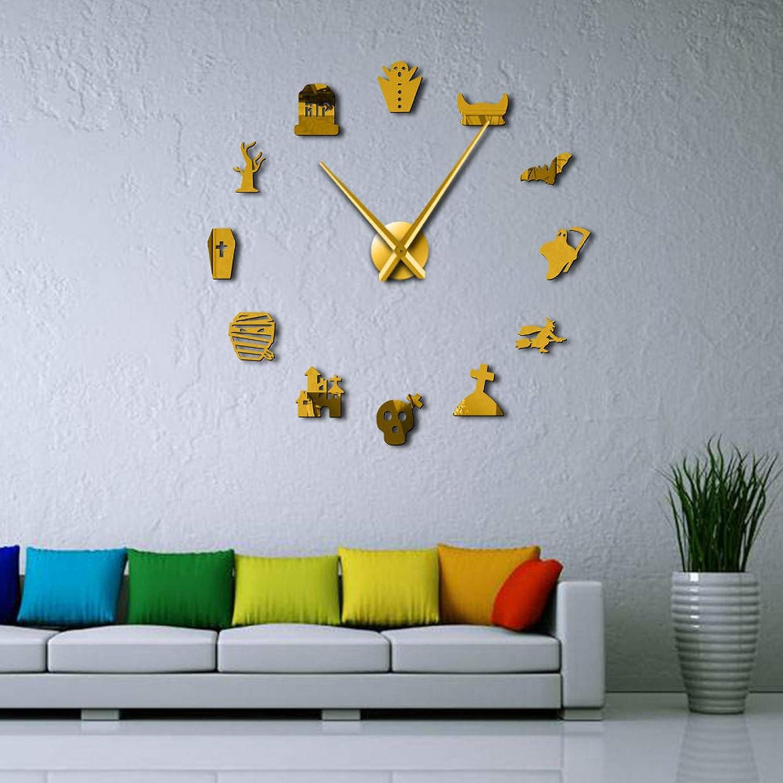 YSEQP DIY Wall ClockI Love Dolphins Sea Animal 3D DIY Clock Dolphin Lover Idea Nursery Room Wall Decor Quartz Acrylic Mirror Sticker Golden (47inch)