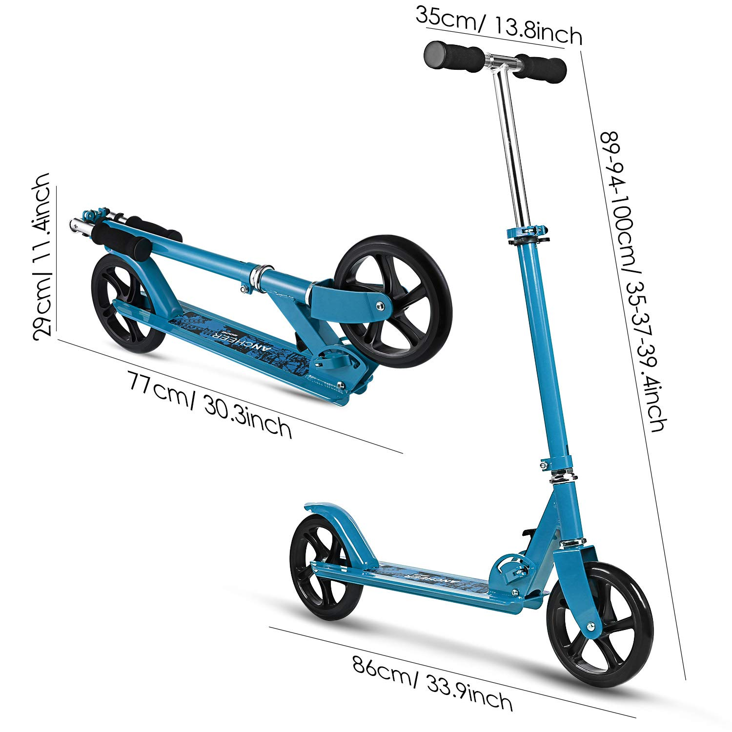Supports 220lbs Weight Easy-Folding Adjustable Height Commuter Street Push Scooter for Adult Teen for City Urban Riders WeSkate Kick Scooter with 2 Big Wheels