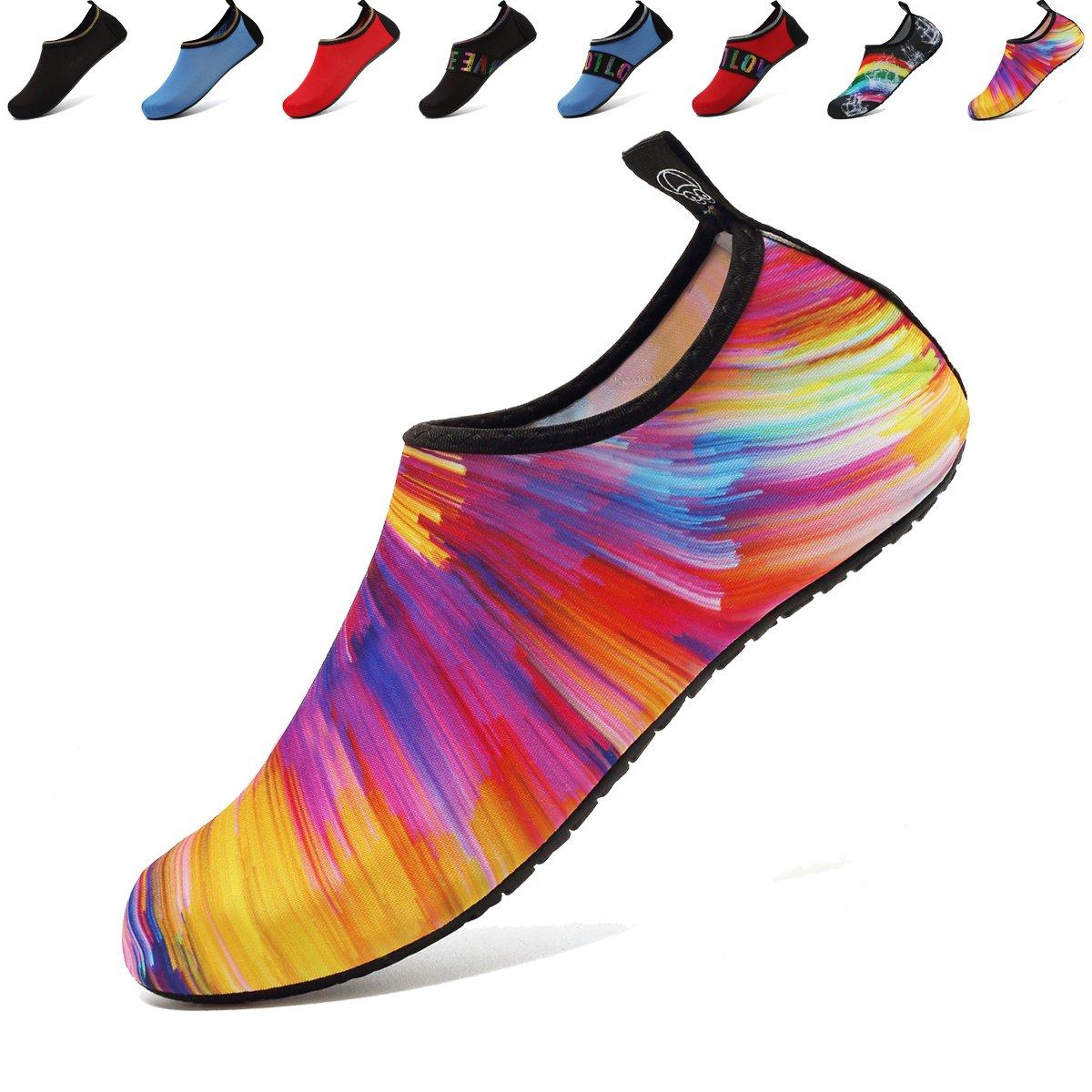 ANLUKE Womens Mens Water Barefoot Shoes for Summer Swim Aqua Yoga Socks Beach Orange/Colorful 40/41