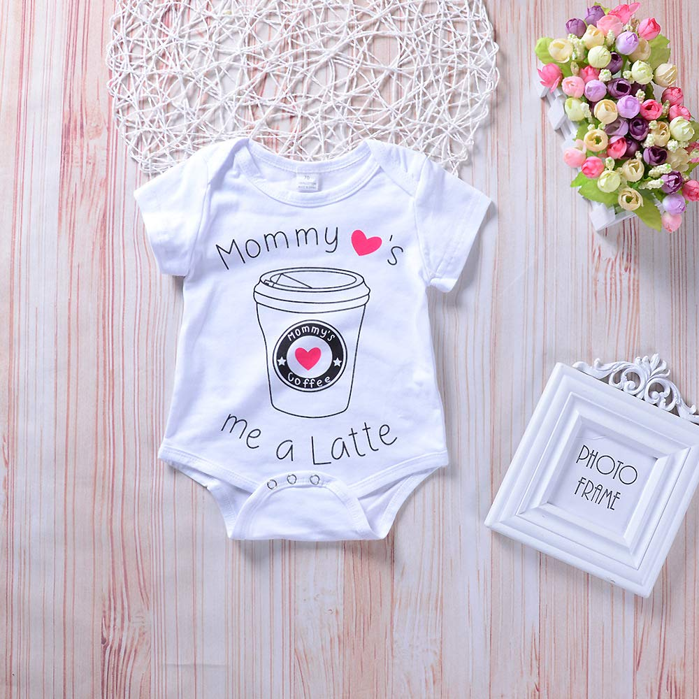 Romper Pant Headband 3 PCS Baby Coffee Cup Outfits Set