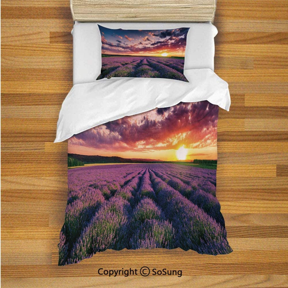 SoSung Lavender Kids Duvet Cover Set Twin Size, Blooming Fields in Endless Rows Agriculture Aromatherapy Rural Countryside Image 2 Piece Bedding Set with 1 Pillow Sham,Multicolor 717-elL4NtL