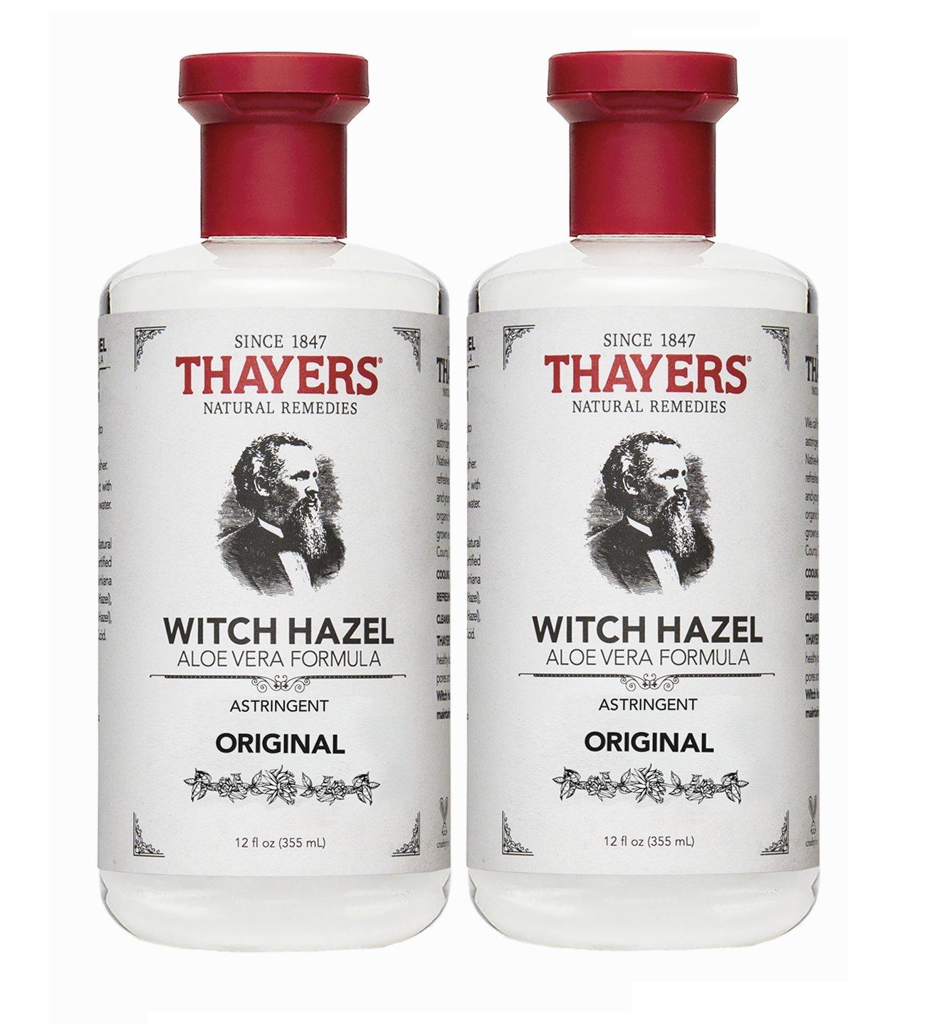 Thayers Witch Hazel with Aloe Vera, Original Astringent, 12 Fl Oz (Pack of 2)