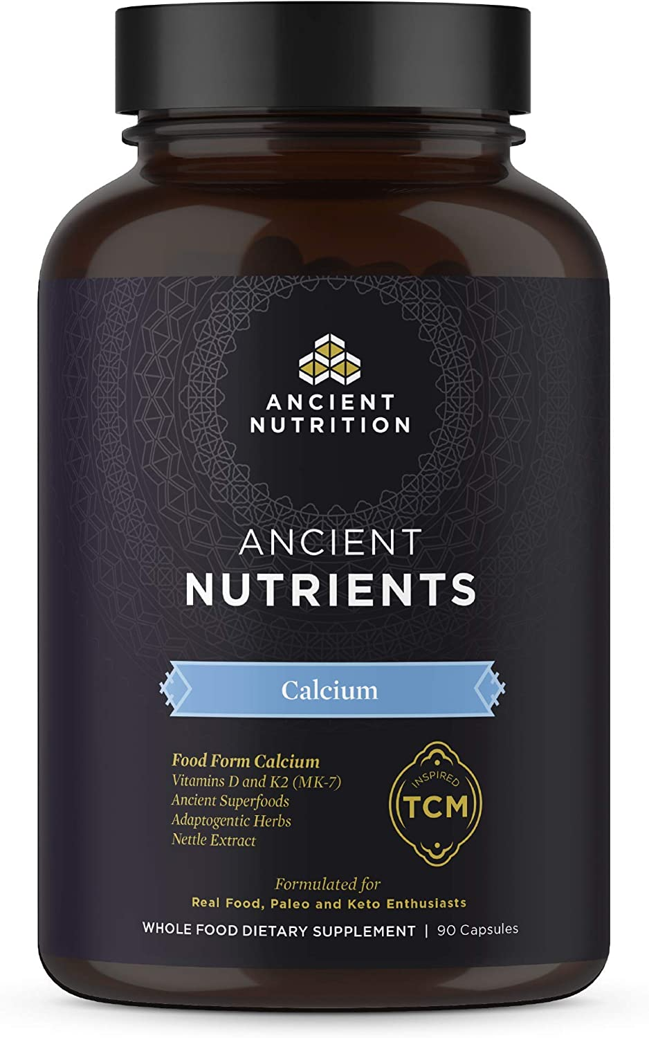 Ancient Nutrition, Ancient Nutrients Calcium - Food Form Calcium, Vitamins D and K2, Adaptogenic Herbs, Enzyme Activated, Paleo & Keto Friendly, 90 Capsules