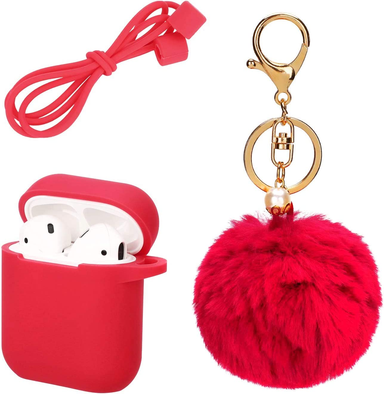 Protective Silicone Cover Skin Compatible with Apple Airpods Charging Drop Proof Case Cover with Fluffy Pompom Keychain and Anti-Lost Strap Accessories Kit Compatible Airpod Charging Case Red