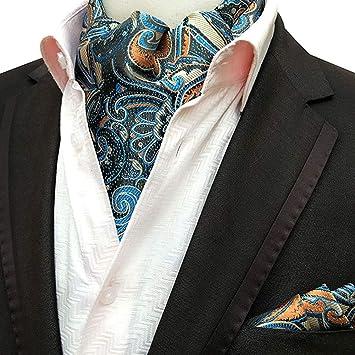 SJTL Hombre Bufanda Jacquard Ascot Paisley Corbatas Pañuelo Set ...