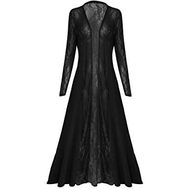 Womens Ladies Long Sleeves Lace Mesh Panels Floaty Maxi Midi ...
