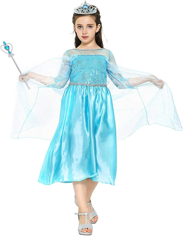para Carnaval,Cosplay,Navidad,Fiesta de Cumplea/ños 5 Trajes Diferentes para Elegir Disfraz de Princesa Elsa//Capa Disfraces//Belle Vestido y Accesorios para Ni/ñas- Reino de Hielo Vicloon