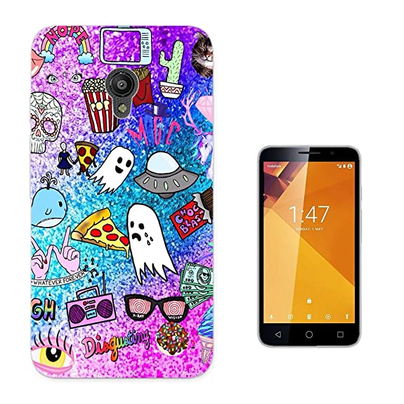 002759 - Emoji Stickers Ghost Pizza Popcorn UFO Glasses Fries Design Vodafone Smart Turbo 7 Fashion