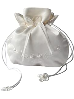 Sharplace Hochzeit Satin Perlen Dolly Bag Brauttasche Handtasche Brautbeutel Wei/ß