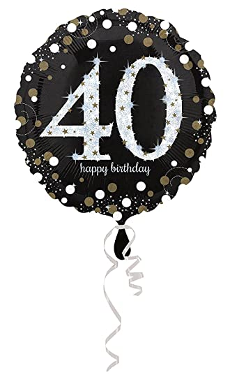 Carpeta Globo * Número 40 Happy Birthday + Helium Relleno + ...