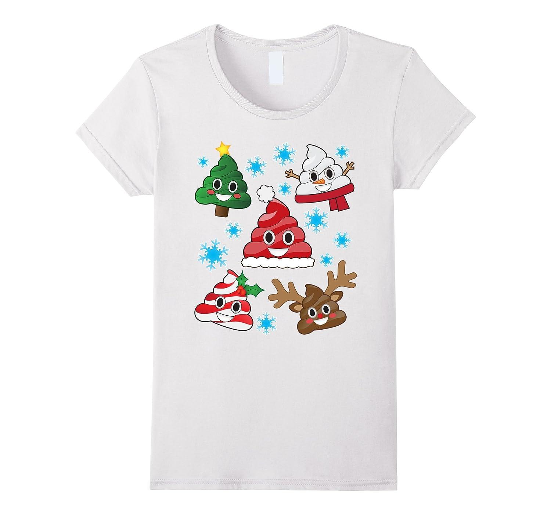Funny Emoji Christmas Poop Cute Holiday Snowflake T-Shirt