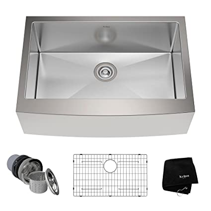Kraus KHF200 30 30 Inch Farmhouse Apron Single Bowl 16 Gauge Stainless  Steel Kitchen Sink