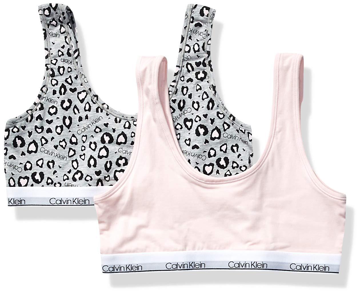 Calvin Klein  Girl's Modern Cotton Bralette Underwear, ck Leo Heather, Crystal Pink, Small, S,Little Girls by Calvin Klein