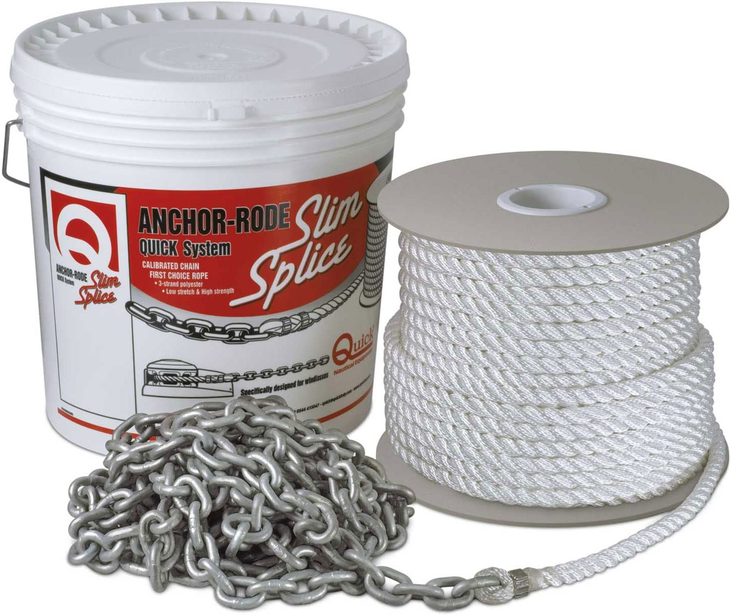 Quick FVC070312120A00 Anchor-Rode 15 x 2//7Thick Chain /& 200 x 1//2Thick 3-Strand Rope
