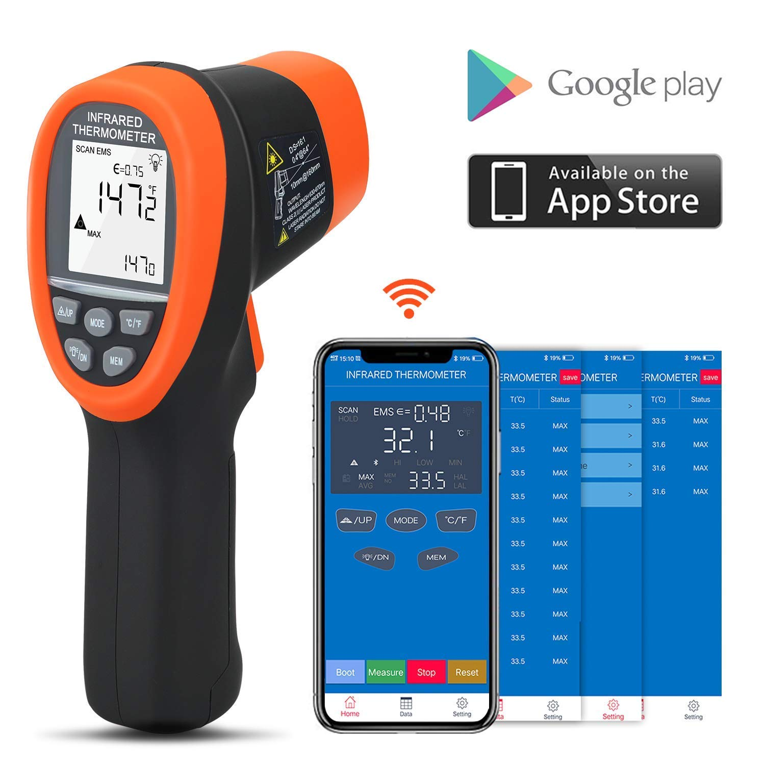 BTMETER BT-985CAPP Bluetooth 12:1 Digital Infrared Thermometer Temp Range -58℉~1472℉(-50℃~800℃) Non Contact IR Temperature Gun Tester with Backlit MAX/MIN/AVG for Kitchen Food Cooking HVAC Automotive