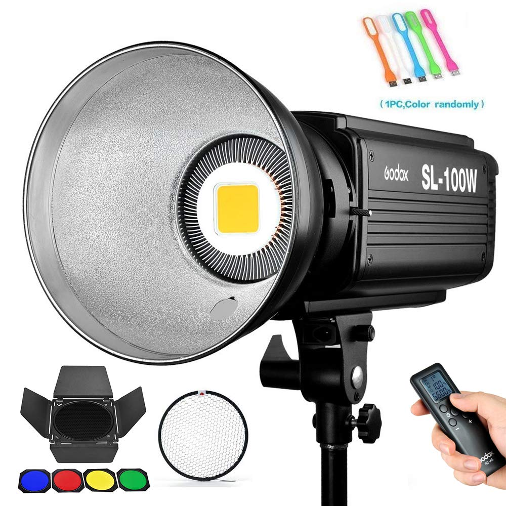 Godox SL-100W 100Ws 5600K White Version LED Video Light, 2400LUX StudioContinuous Output photo Lighting with Bowens Mount for Video Recording,Children Photography,Wedding,Outdoor Shooting (110V)